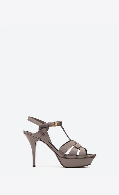 SAINT LAURENT Tribute D CLASSIC TRIBUTE 75 SANDAL IN fog Patent LEATHER a_V4