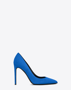 SAINT LAURENT High Heel Court D Classic PARIS Skinny 105 Escarpin Pump in Electric Blue Suede f