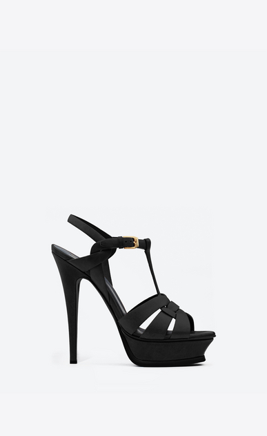 SAINT LAURENT Tribute D Classic Tribute 105 Sandal in Black Leather a_V4