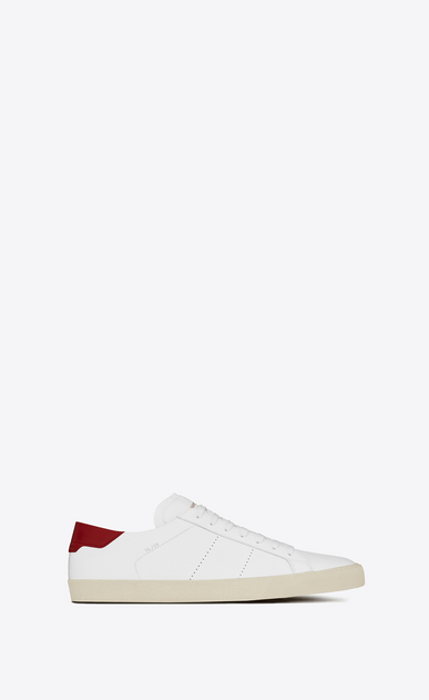SAINT LAURENT SL/06 U SL/06 Court CLassic sneakers in Optic White and Red Leather a_V4