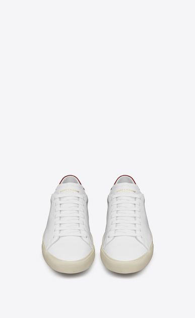 SAINT LAURENT SL/06 U SL/06 Court CLassic sneakers in Optic White and Red Leather b_V4