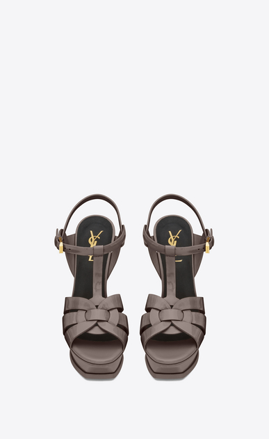 SAINT LAURENT Tribute D CLASSIC TRIBUTE 105 SANDAL IN Fog Patent Leather b_V4