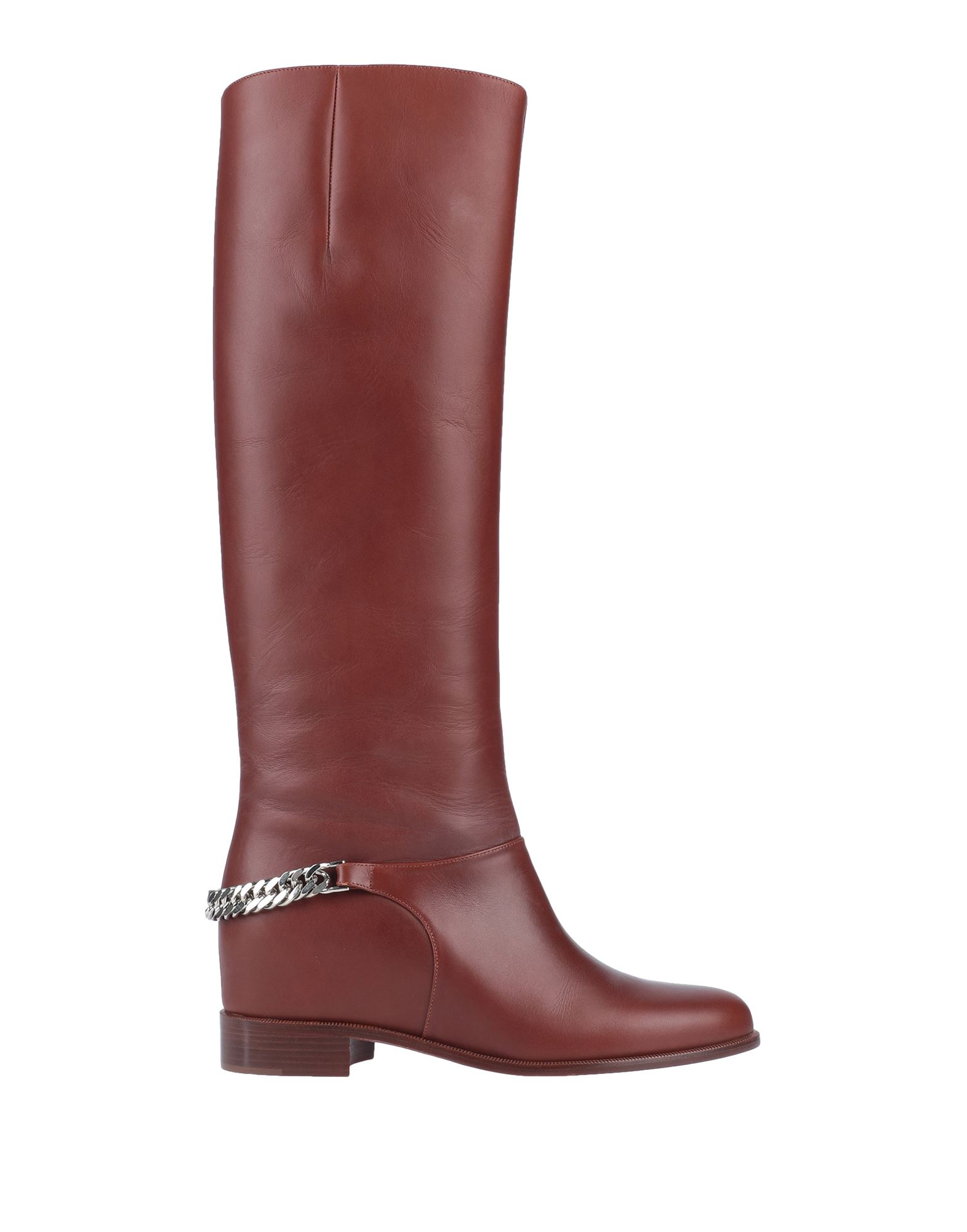 CHRISTIAN LOUBOUTIN Boots. metal applications, round toeline, leather sole, solid color, flat, small sized. Soft Leather