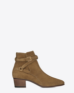 SAINT LAURENT Flat Booties D signature blake 40 jodhpur boot in cigar suede f