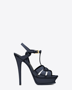 SAINT LAURENT Tribute D CLASSIC TRIBUTE 105 SANDAL IN Navy Blue Patent Leather f