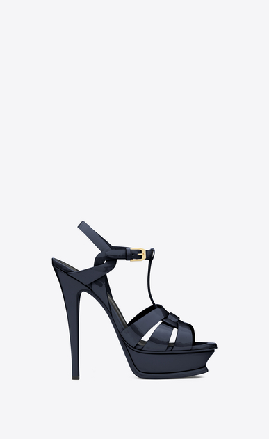 SAINT LAURENT Tribute D CLASSIC TRIBUTE 105 SANDAL IN Navy Blue Patent Leather a_V4
