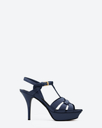 SAINT LAURENT Tribute D CLASSIC TRIBUTE 75 SANDAL IN Navy Blue Patent Leather f