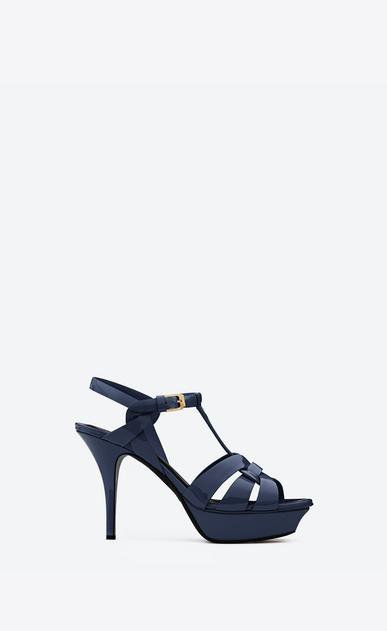 SAINT LAURENT Tribute D CLASSIC TRIBUTE 75 SANDAL IN Navy Blue Patent Leather a_V4