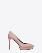 SAINT LAURENT Janis Courts D CLASSIC JANIS 80 ESCARPIN PUMP IN Pale Blush textured LEATHER f