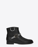 MOTORCYCLE Studded Strap Ankle BOOT IN BLACK Leather and Oxidized Nickel Studs