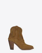 SAINT LAURENT Heel Booties D CURTIS 80 FRINGED ANKLE BOOT IN Tan SUEDE f
