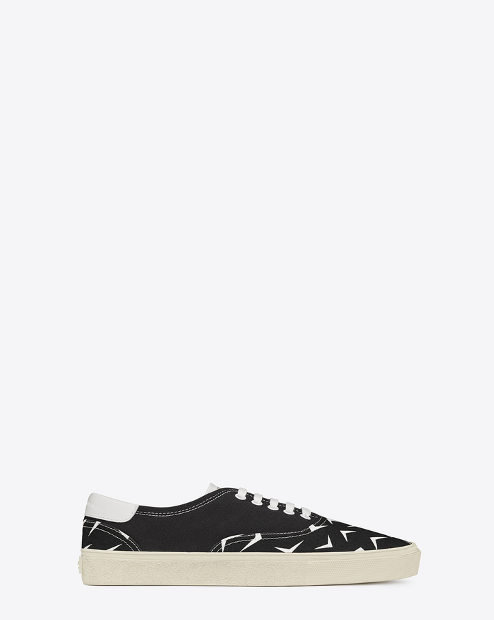 laurent skate lace up sneakers in black and white