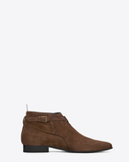 SAINT LAURENT Boots U SIGNATURE LONDON 20 JODHPUR CROPPED BOOT IN Brown Suede f