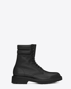 SAINT LAURENT ARMY SHOES U COMBAT Padded Collar Boot in Black Leather f