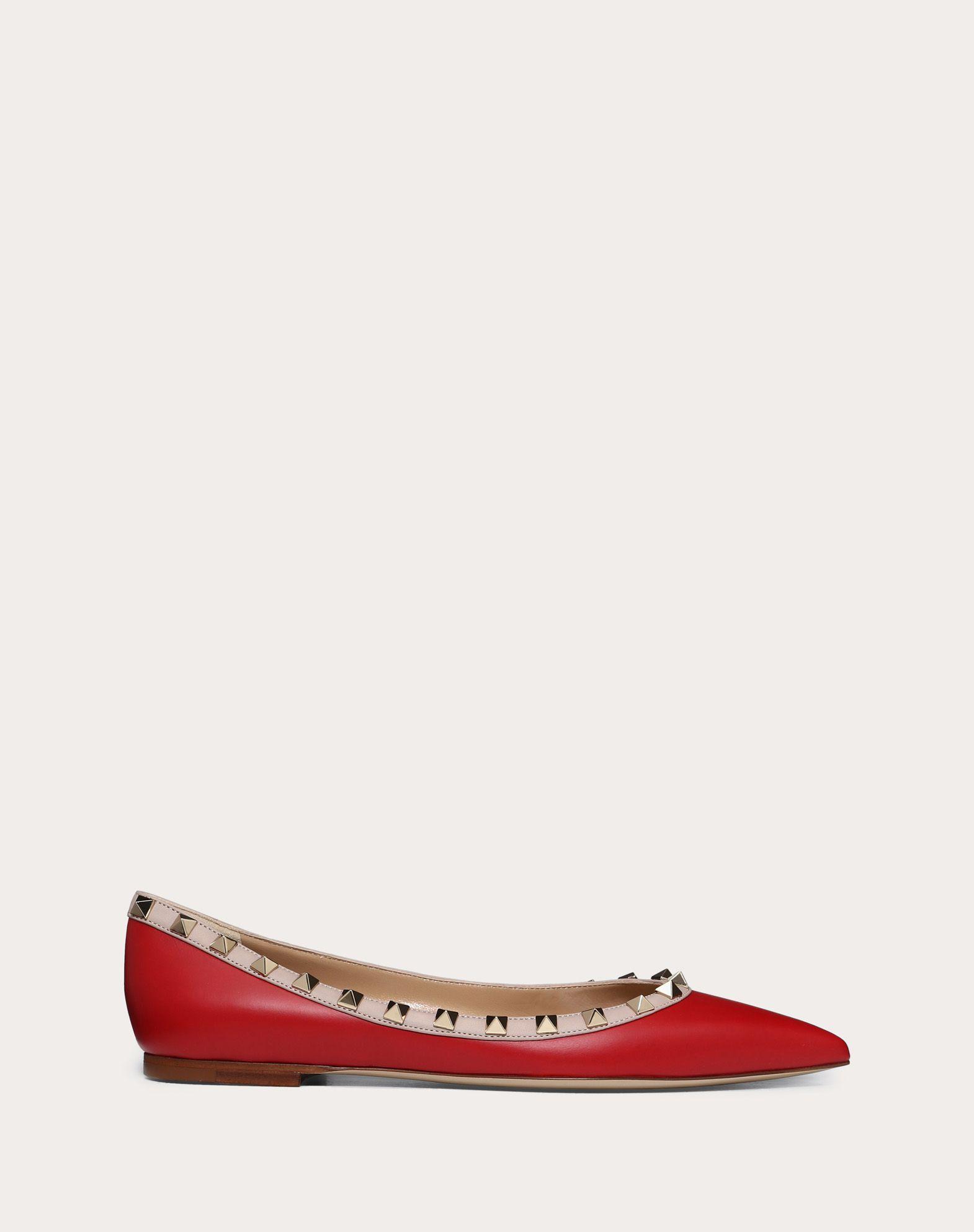Rockstud Calfskin Leather Ballet Flat