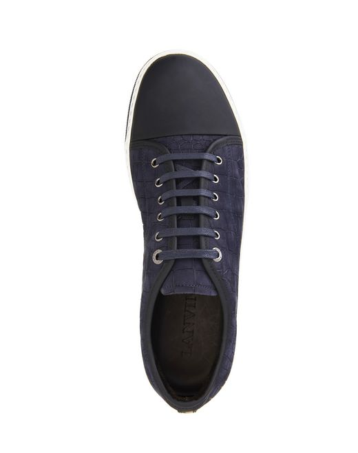 lanvin ddb1 embossed calfskin sneaker  men