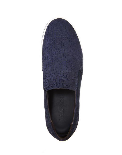 lanvin embossed calfskin slip on sneaker men