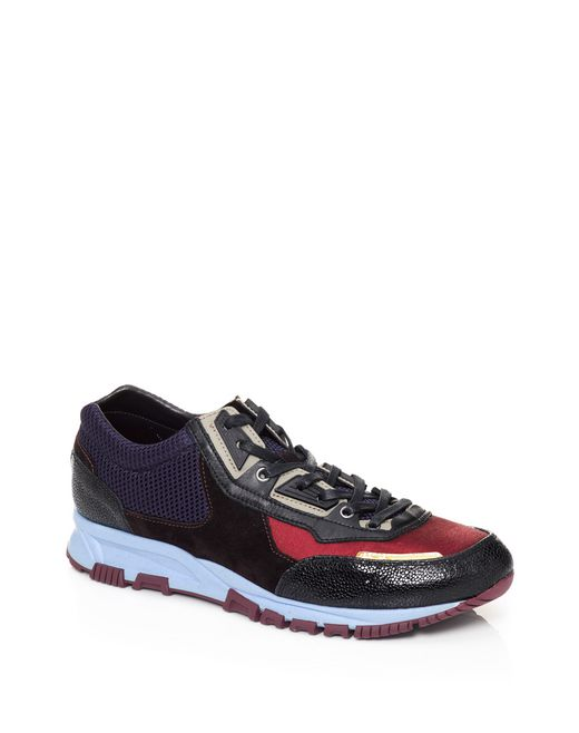 lanvin running sneaker in metallic fabric and sport mesh men