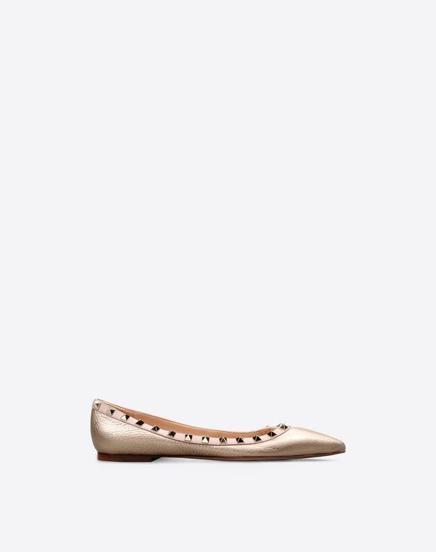 Metallic Grain calfskin leather Rockstud Ballet Flat
