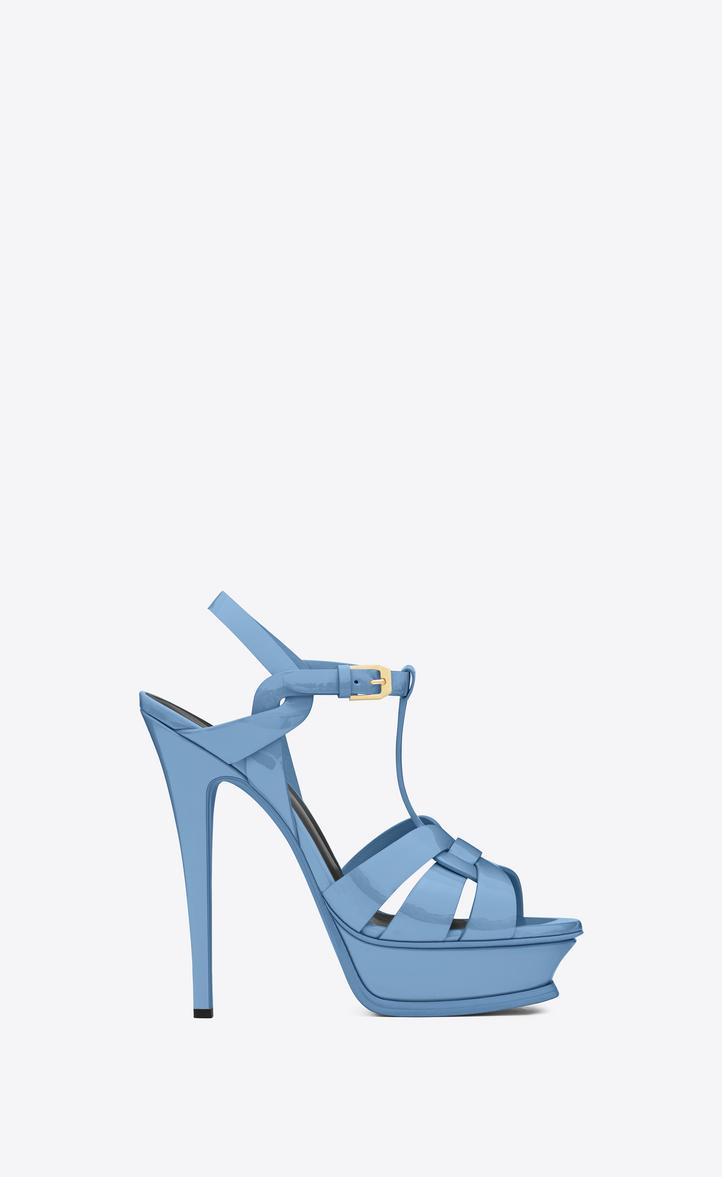 saint laurent classic tribute 105 sandal in light blue patent rh ysl com