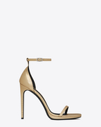 SAINT LAURENT Jane D Classic JANE 105 Ankle Strap Sandal in Pale Gold Lizard Embossed Metallic Leather f