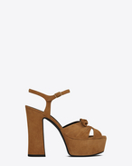 CANDY 80 Bow Sandal in Tan Suede