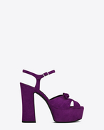 CANDY 80 Bow Sandal in Dark Violet Suede