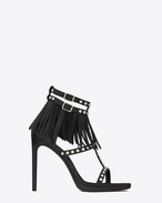 Classic JANE 105 Studded and Fringed T-Strap Sandal in Black Leather and Oxidized Nickel