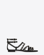 NU PIEDS 10 Multi-Studded Sandal in Black Leather and Oxidized Nickel