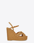 ESPADRILLE 95 Platform Sandal in Cognac Leather and Jute
