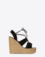 SAINT LAURENT Espadrille D ESPADRILLE 95 Lace-Up Platform Sandal in Black Suede f