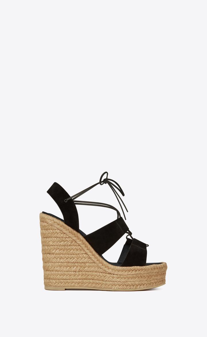 851a48c0313 Saint Laurent ESPADRILLE 95 Lace Up Platform Sandal In Black Suede ...