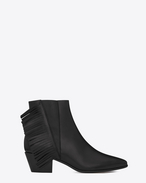 SAINT LAURENT Flat Booties D WYATT 40 Chelsea Side Fringe Ankle Boot in Black Leather f