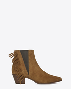 WYATT 40 Side Fringe Ankle Boot in Tan Suede