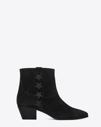 SAINT LAURENT Flat Booties D WYATT 40 Side Stars Ankle Boot in Black Suede and Leather f