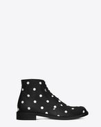 LOLITA 20 Lace-Up Boot in Black and White Polka Dot Printed Leather