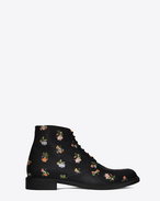 LOLITA 20 Lace-Up Boot in Black and Multicolor Prairie Flower Printed Leather