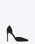 SAINT LAURENT High Heel Court D Paris 105 D'Orsay Escarpin Pump in Black Suede f