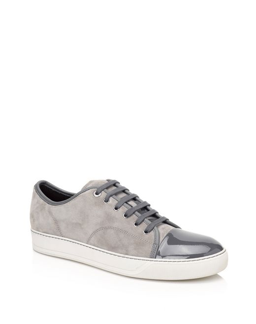 lanvin low sneakers in velvet and patent calfskin men
