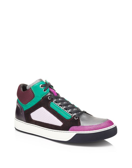 lanvin sneakers mid-top in tessuto metallizzato e mesh men