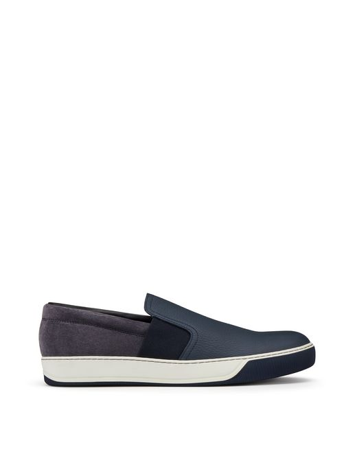 lanvin grained calfskin slip-on  men
