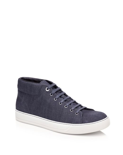 lanvin mid-high sneakers in light denim men