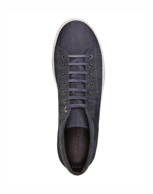 lanvin mid-high sneakers in light denim men