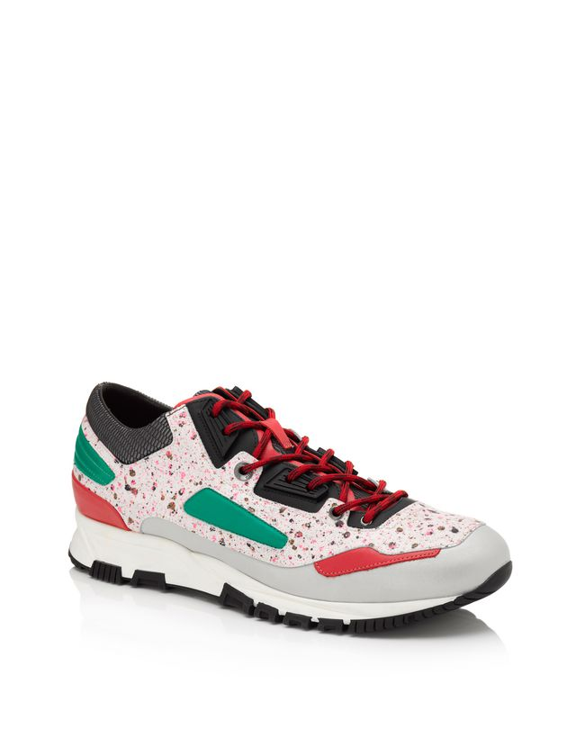 LANVIN Patchwork runners in fluorescent dappled calfskin and metallic calfskin Sneakers U f