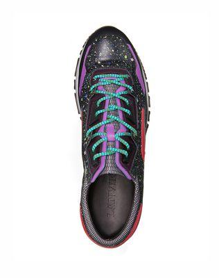 LANVIN Patchwork runners in fluorescent dappled calfskin and metallic calfskin Sneakers U d