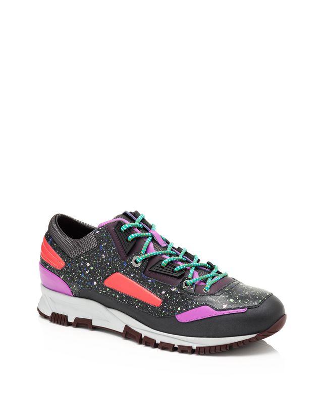 LANVIN Patchwork runners in fluorescent dappled calfskin and metallic calfskin Sneakers U f