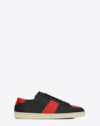 Signature COURT CLASSIC SL/10 Sneaker in Black and Red Leather