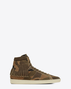 Signature COURT CLASSIC SL/18H Fringed Sneaker in Camouflage Suede