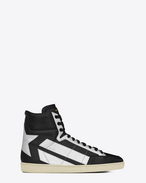 SAINT LAURENT High top sneakers U Sneakers signature COURT CLASSIC SL/36H nere in pelle e color argento in pelle metallizzata f