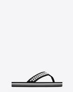 Tong palmier cloutée NU PIEDS en jacquard noir et en nickel oxydé